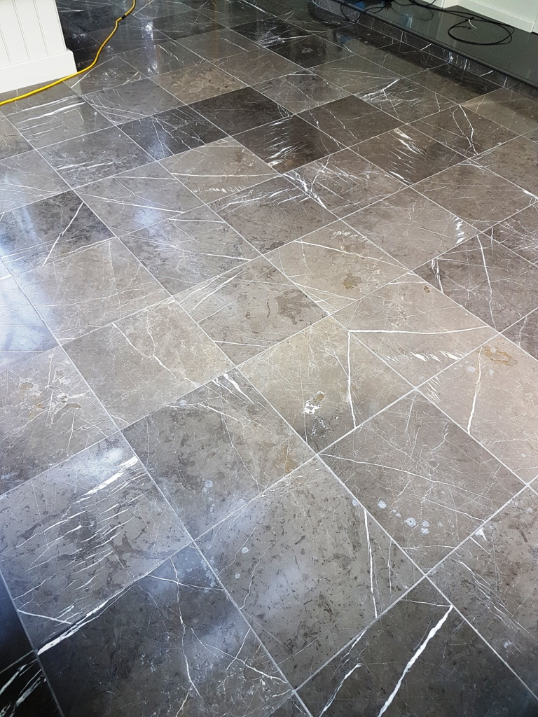 Black Carrara Marble Orangery floor Harrogate Before Polishing