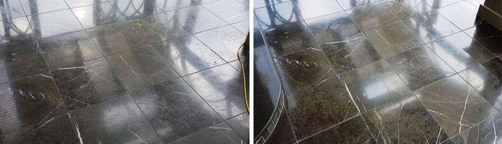 Black Carrara Marble Tiles Before After Polishing Harrogate