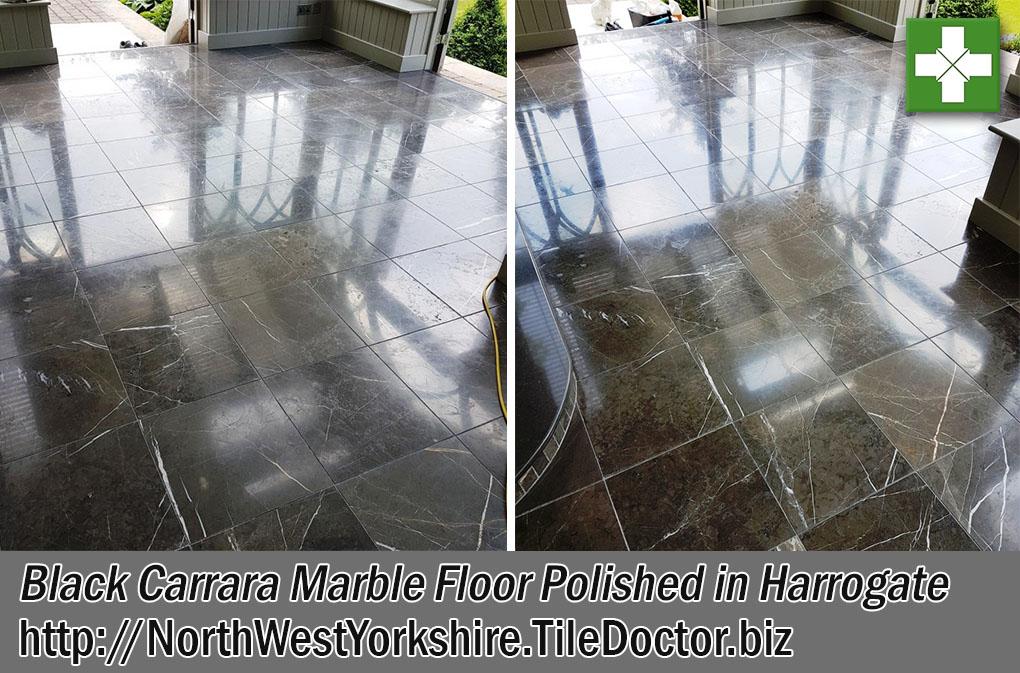 Black Carrara Marble Tiles Before After Polishing Harrogate