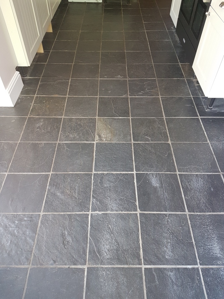 Slate Tiled Kitchen Floor York Before Cleaning