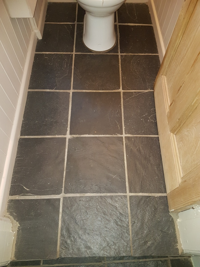 Slate Tiled WC Floor York Before Cleaning