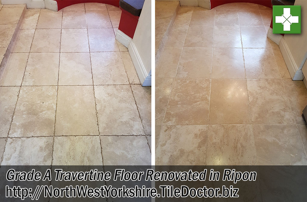 Tumbled Travertine Before and After Renovation Ripon