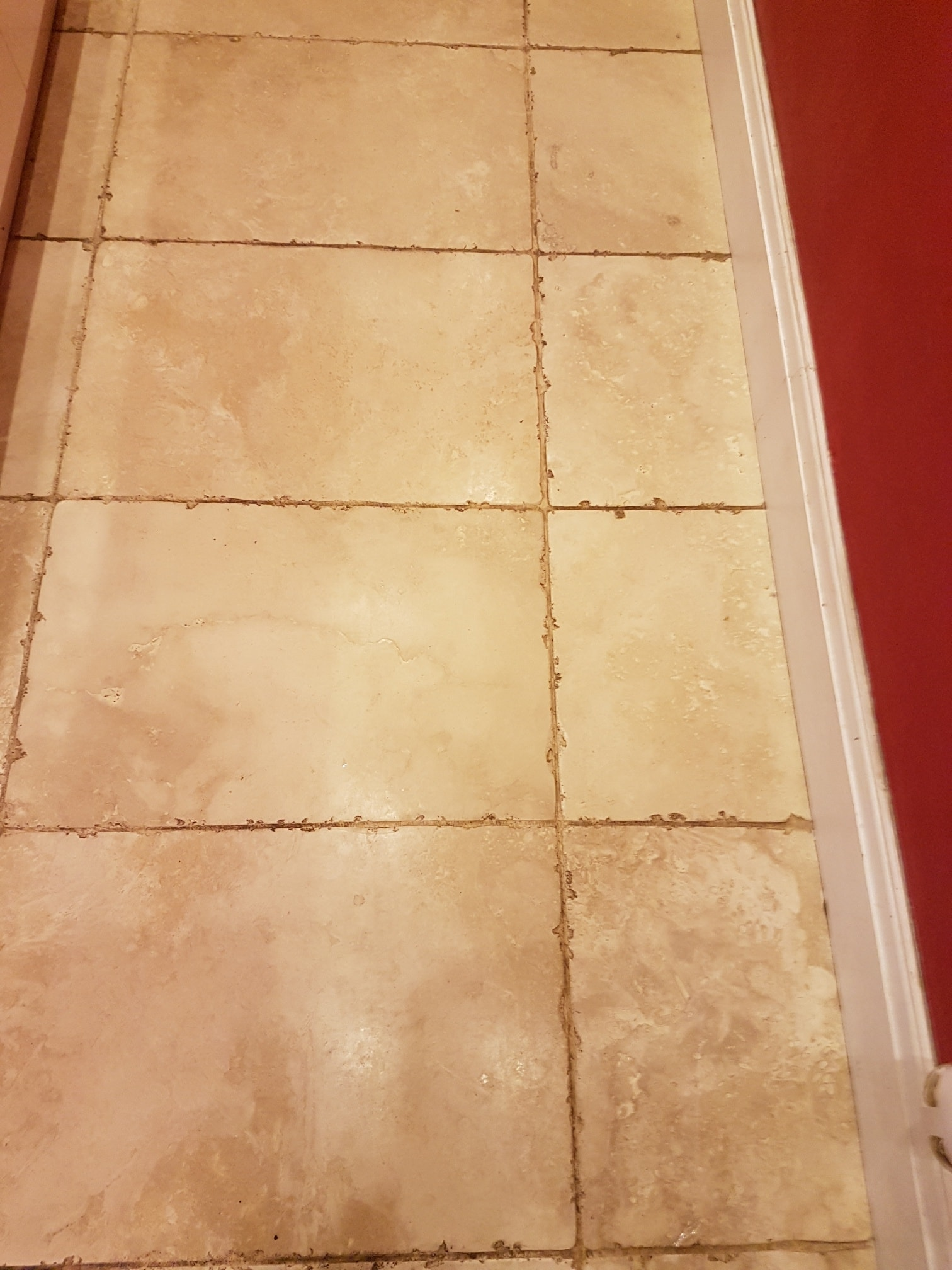 Tumbled Travertine Ripon Before Cleaning