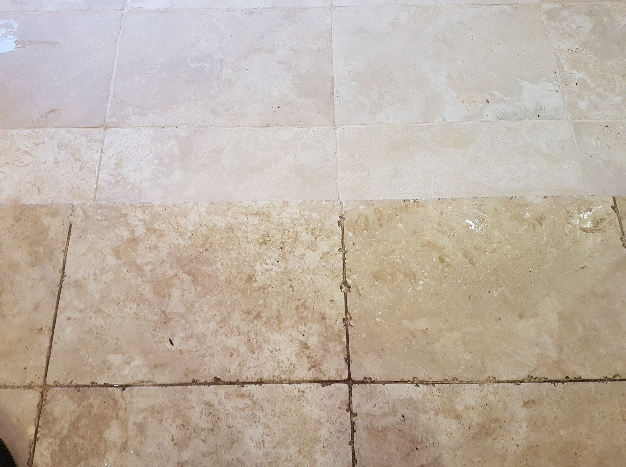 Tumbled Travertine Ripon During Cleaning