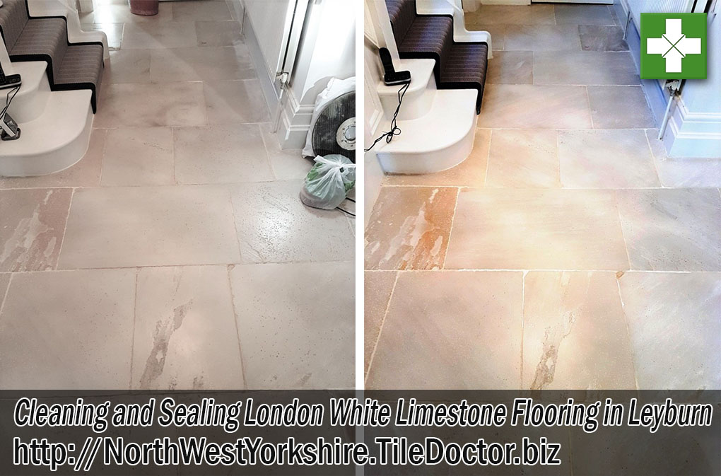 White London Limestone Flooring Before After Cleaning Sealing Leyburn North Yorkshire