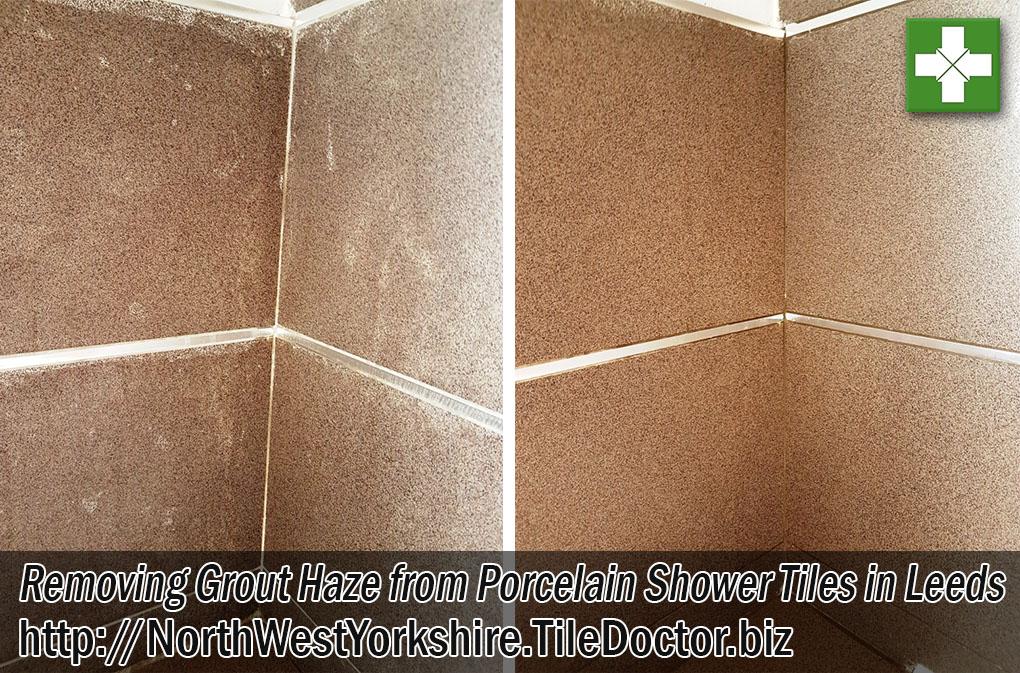 Porcelain Tiled Shower Before After Grout Haze Removal Leeds