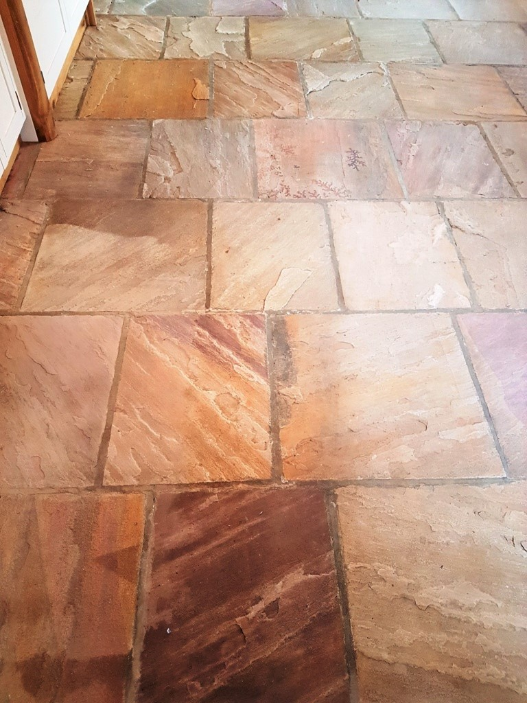 Indian Fossil Sandstone Floor Thirsk After Cleaning