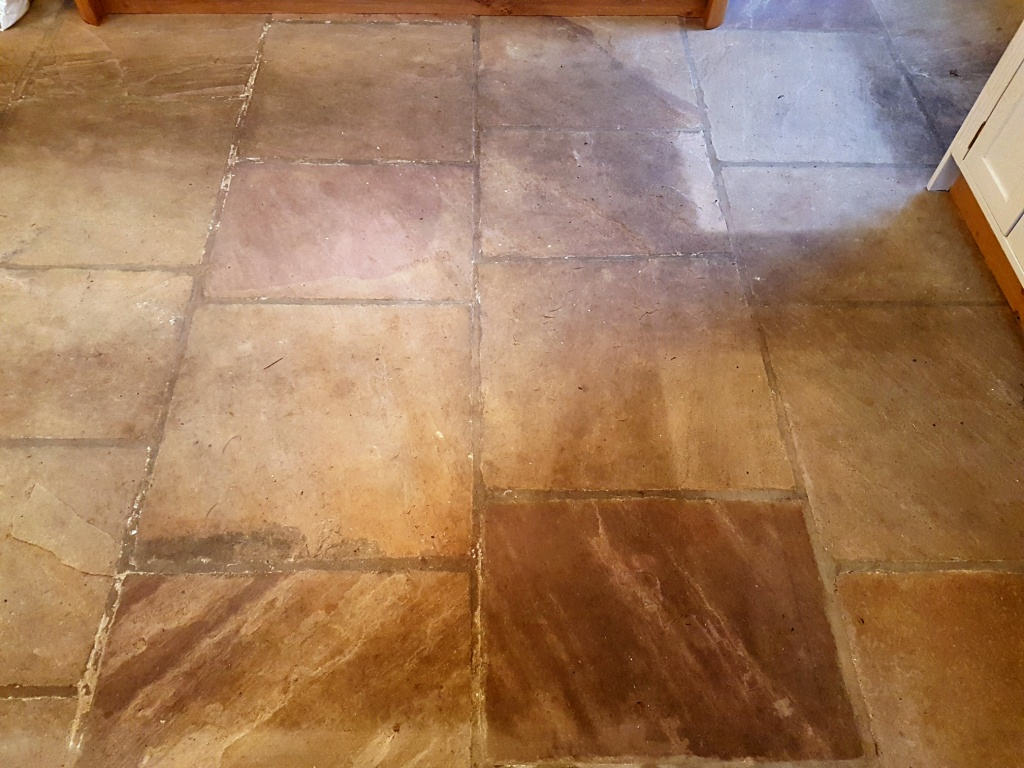 Indian Fossil Sandstone Floor Thirsk Before Cleaning