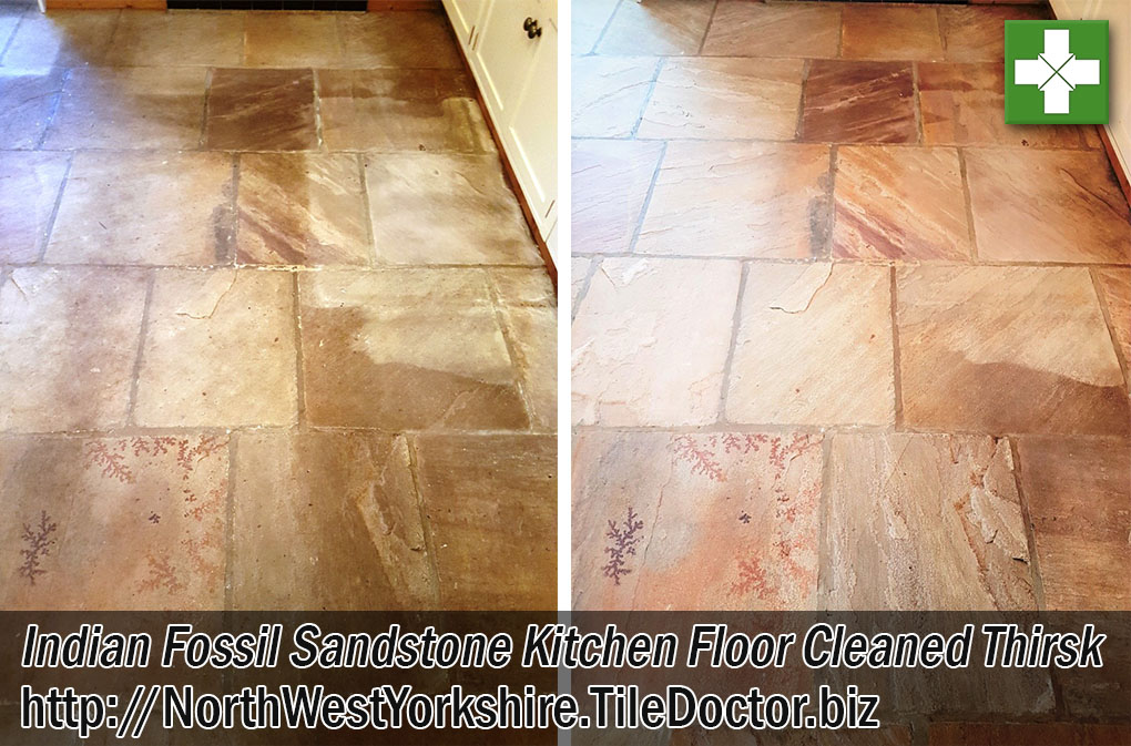 Indian Fossil Sandstone Tiled Kitchen Floor Before After Cleaning Thirsk