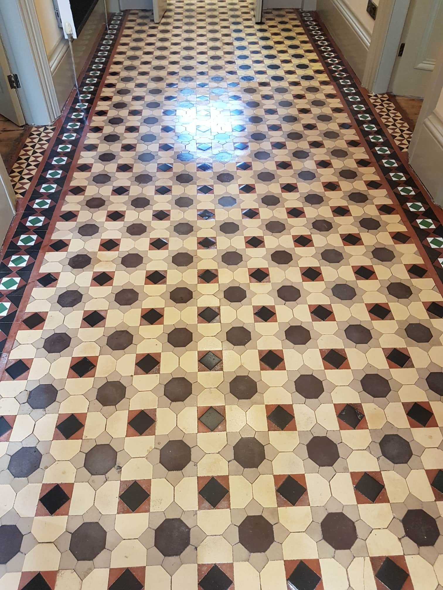 Large Victorian Tiled Hallway After Cleaning Sealing Headingley