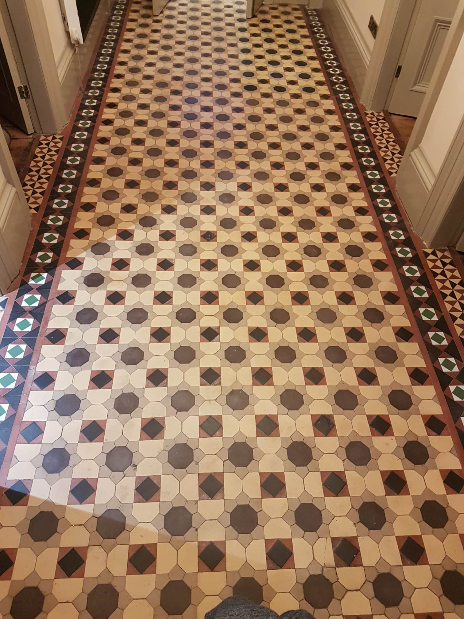 Large Victorian Tiled Hallway Before Cleaning Sealing Headingley