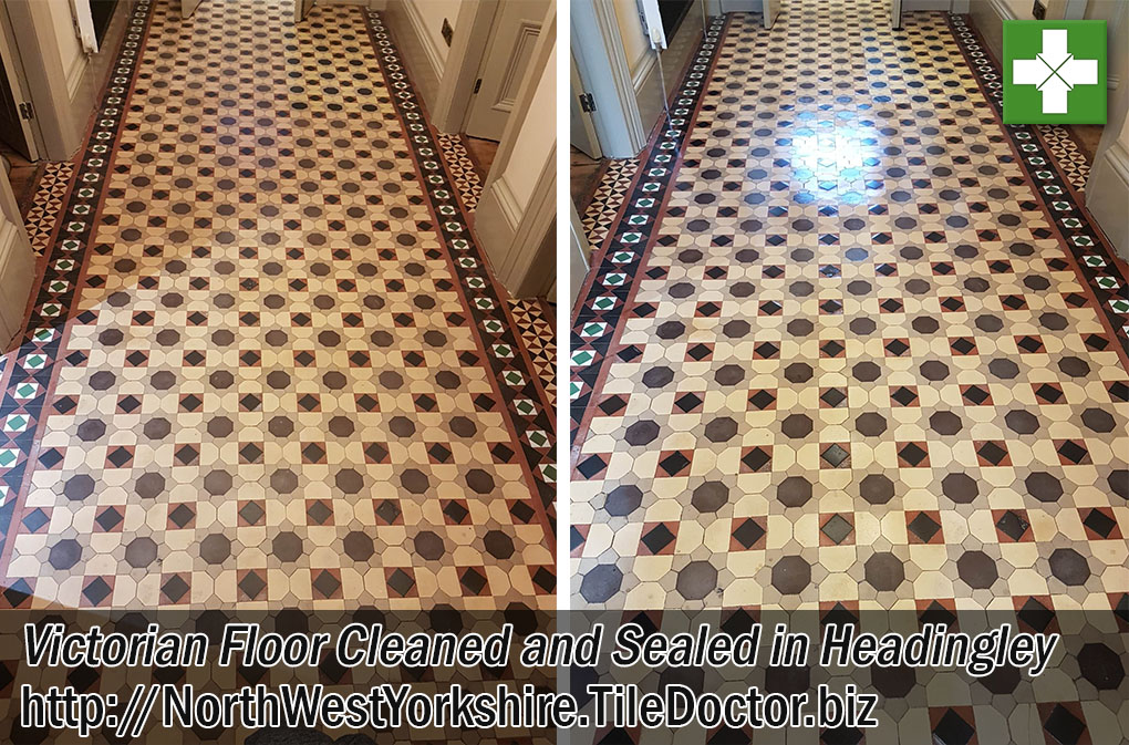 Victorian Tiled Hallway Floor Before After Cleaning Headingley