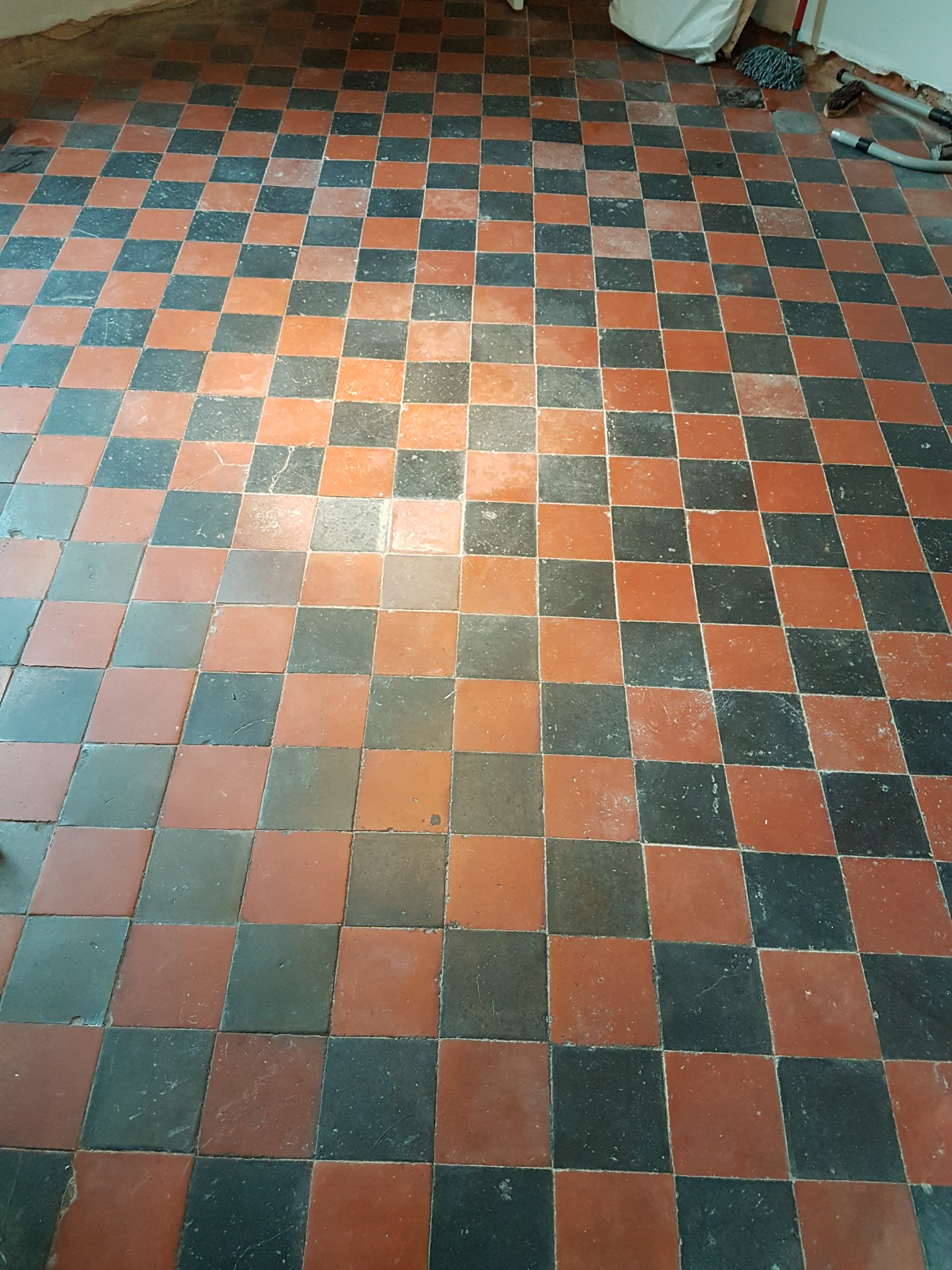 Quarry Tiled Floor Before Cleaning Knaresbrorough