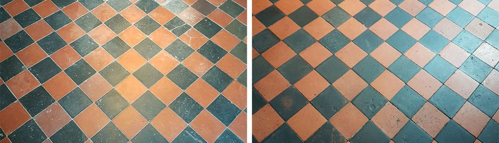Removing Paint Spots from Black and Red Quarry Tiles in Knaresborough