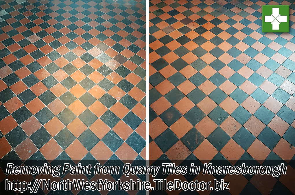 Quarry Tiled Floor Before and After Cleaning Sealing Knaresborough