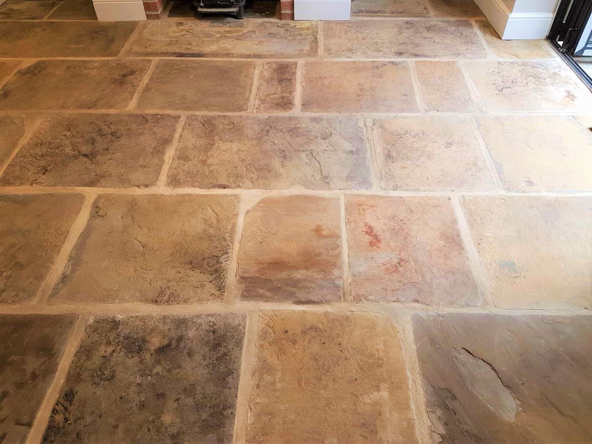 Yorkshire stone flagstone floor after renovation Harrogate