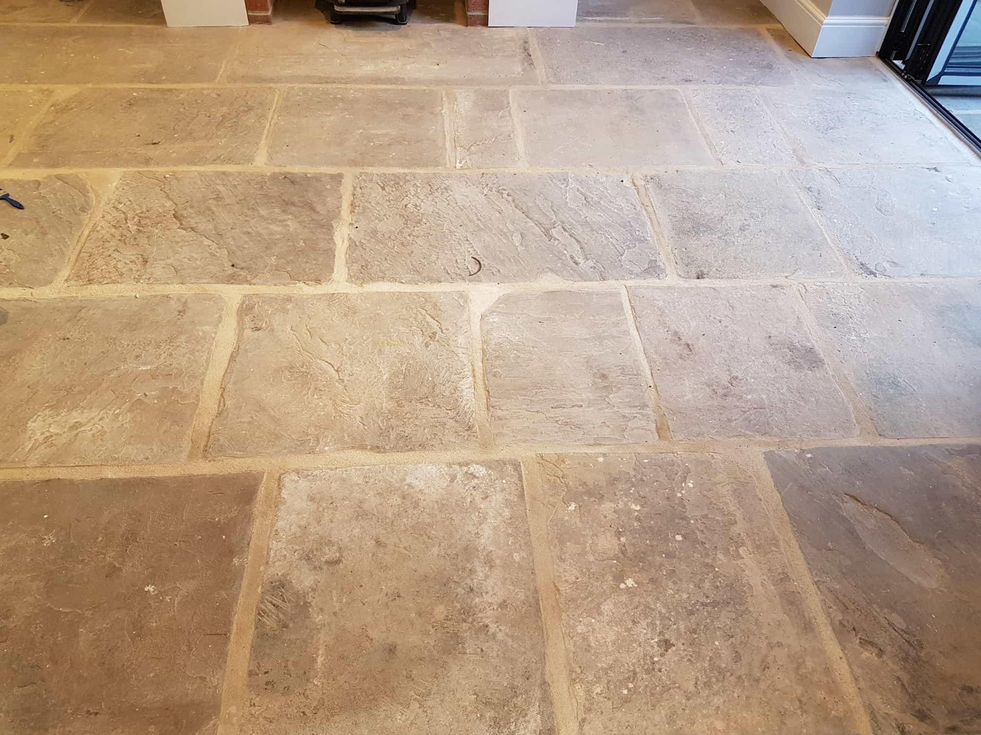 Yorkshire stone flagstone floor before renovation Harrogate