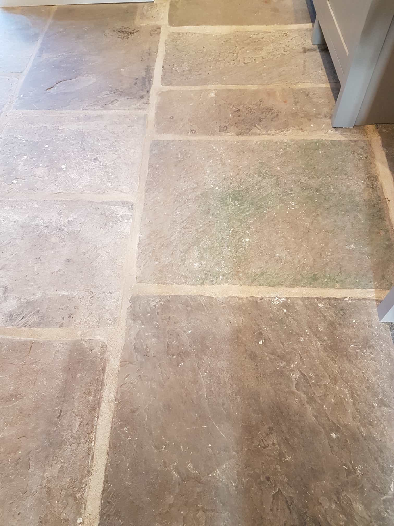 Yorkshire stone flagstone floor before renovation Harrogate