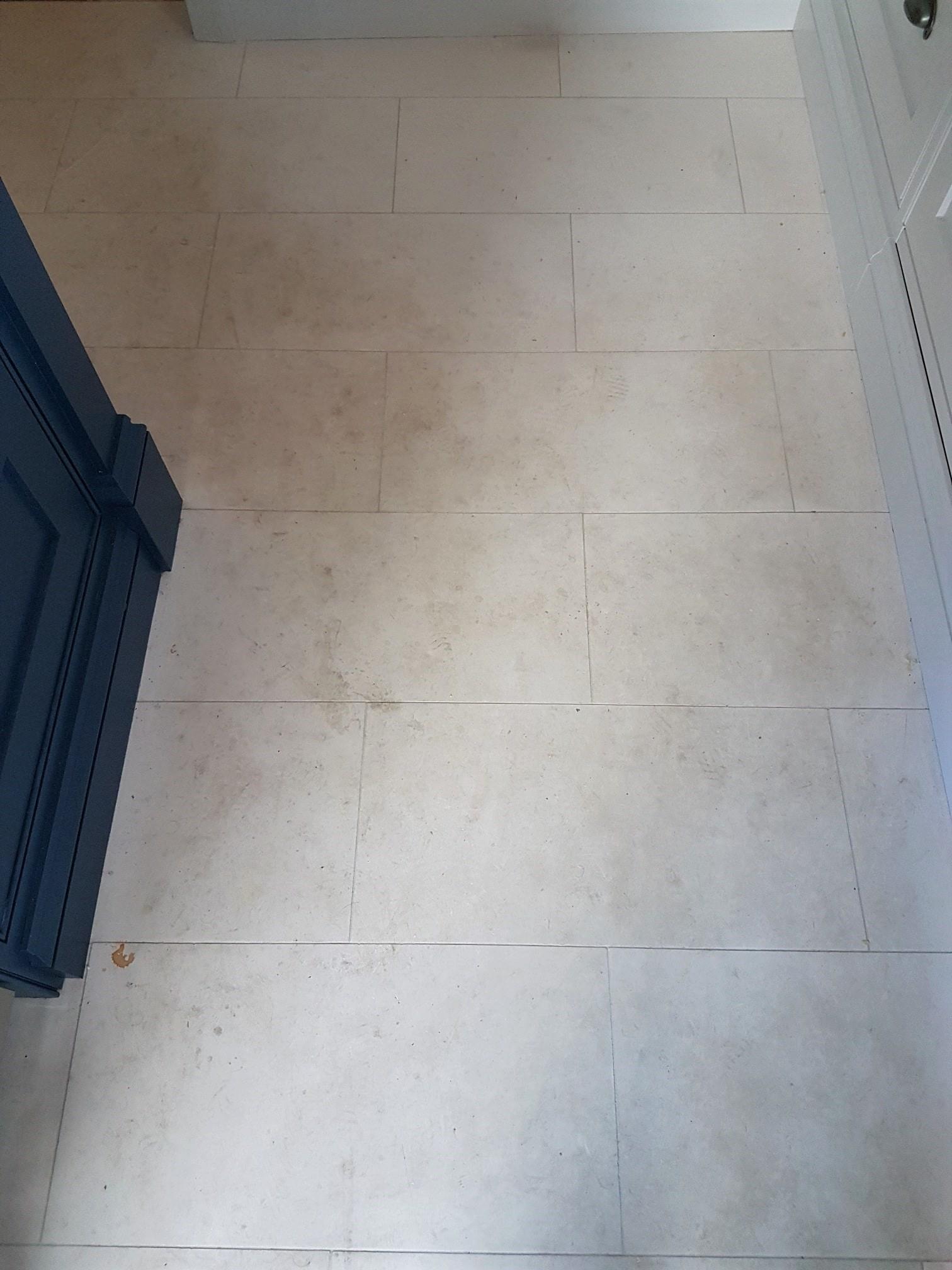 White Moleanos Limestone Floor Before Cleaning Harrogate