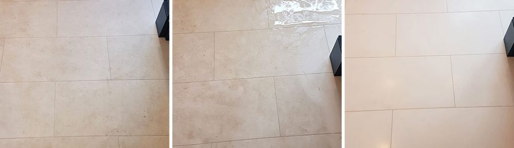 Cleaning a White Moleanos Limestone Kitchen Floor in Harrogate