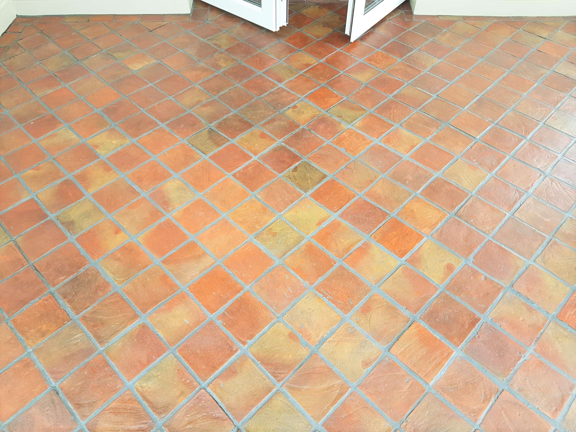 Terracotta Tiled Floor After Grout Haze removal in a Bramhope Conservatory