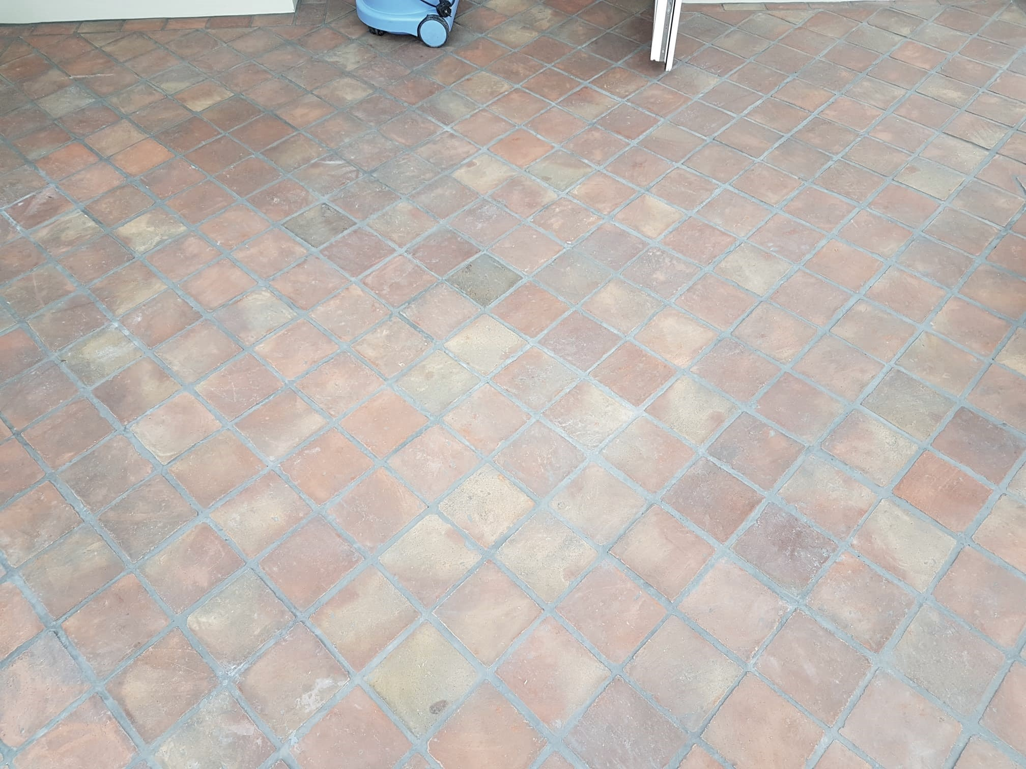 Terracotta Tiled Floor ruined by Grout Haze in a Bramhope Conservatory