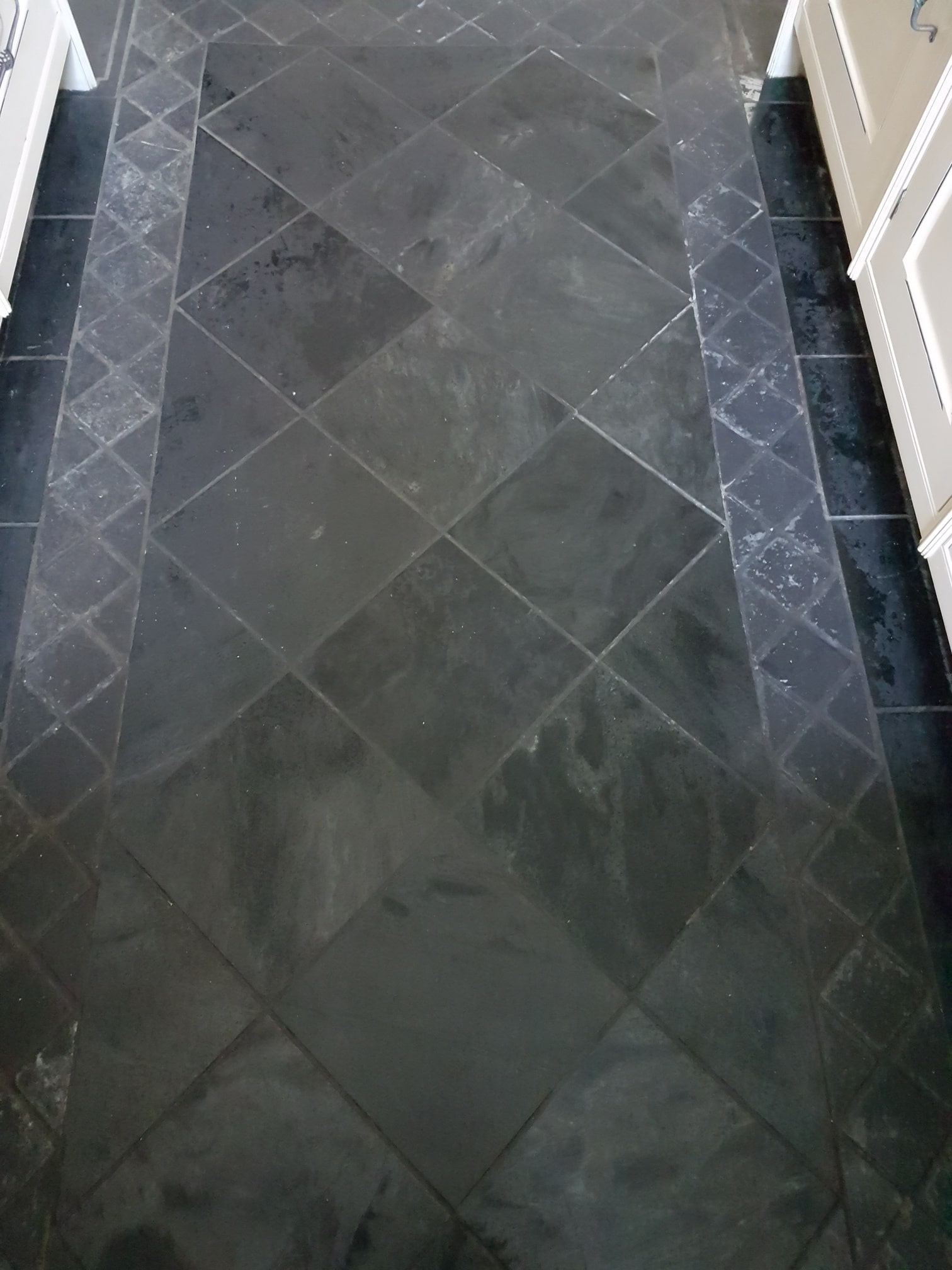 Slate and Granite Kitchen Floor Before Cleaning Harrogate