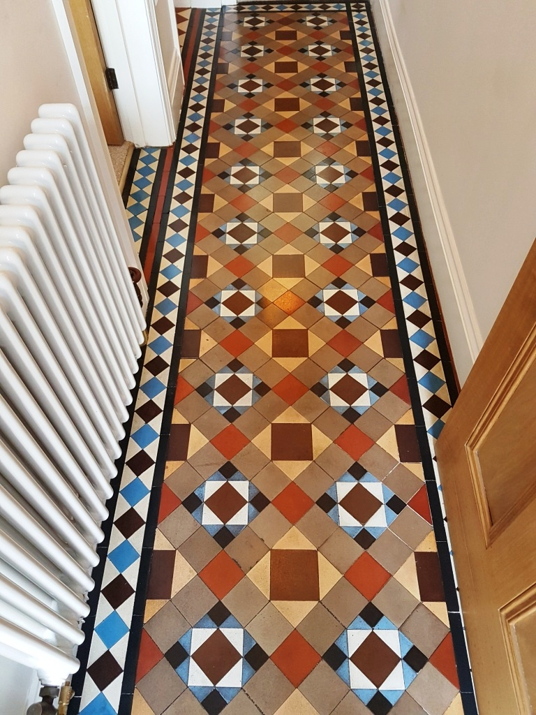 Victorian Tiled Hallway After Paint Splashes Removed in Masham