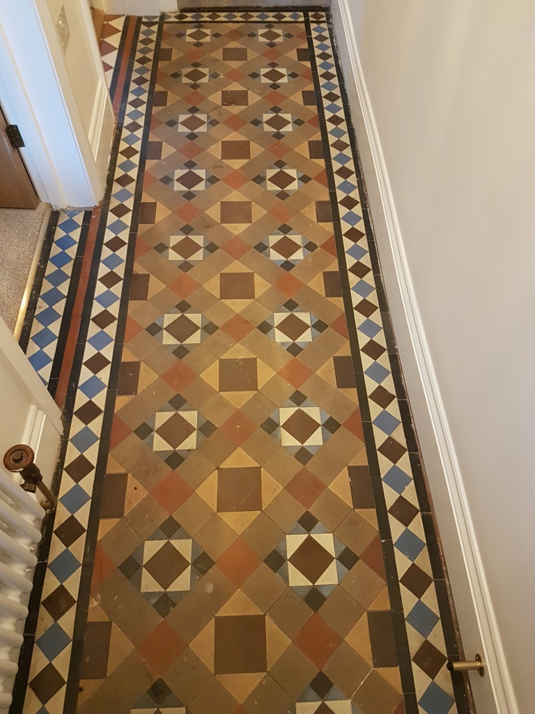 Victorian Tiled Hallway Before Paint Splashes Removed in Masham