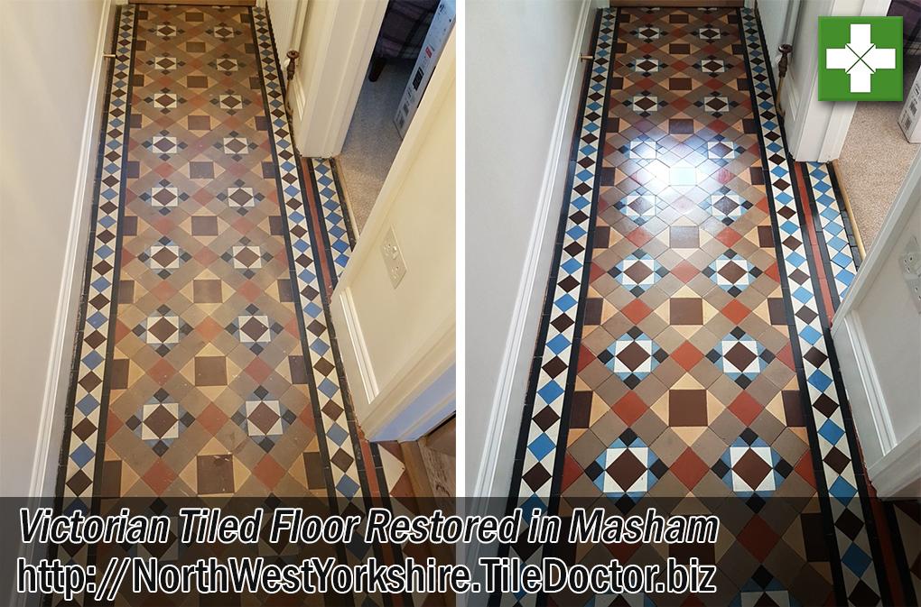 Victorian Tiled Hallway Floor Before After Restoration Masham