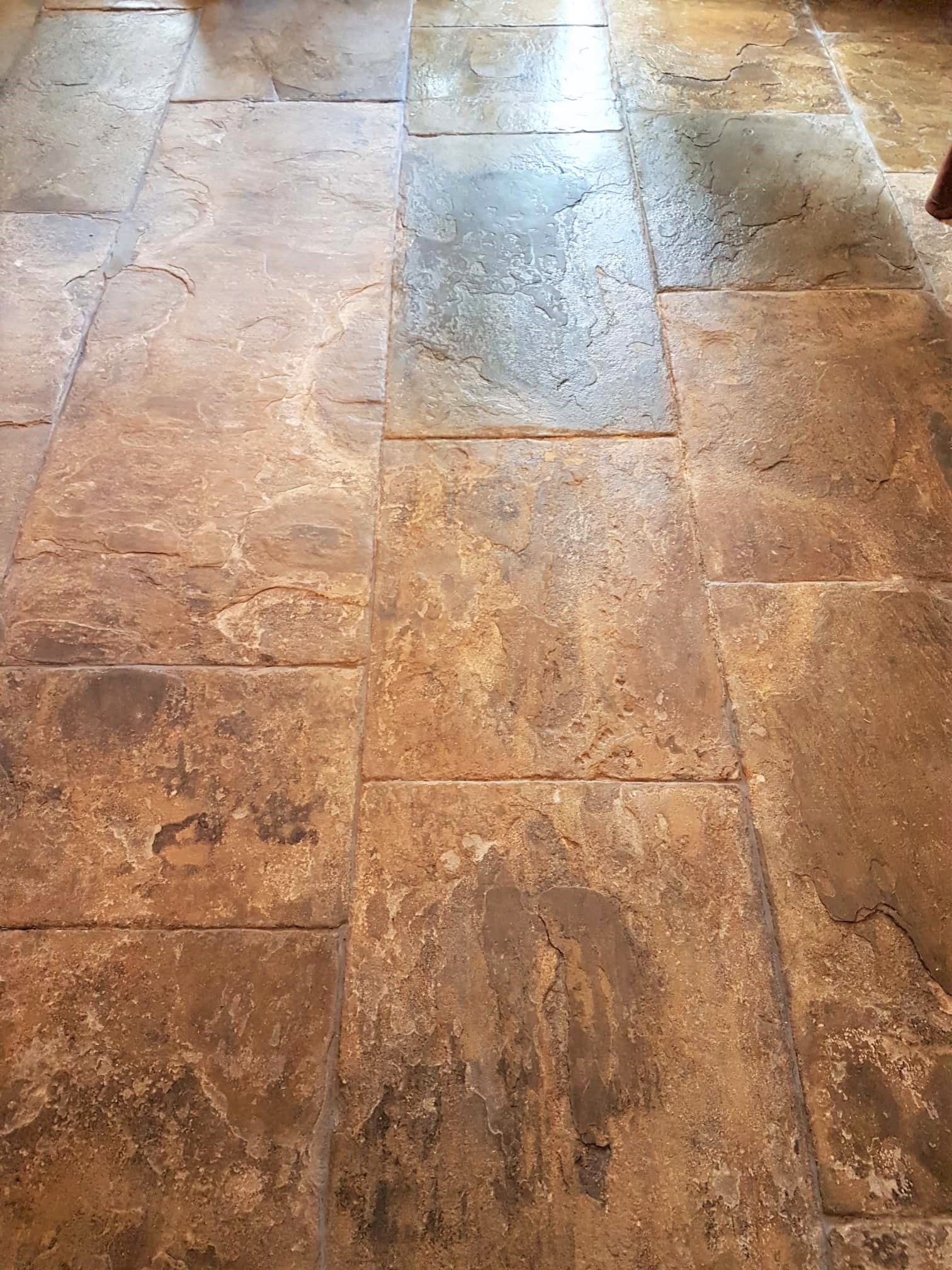 Flagstone Floor After Grouting Cleaning Leeds