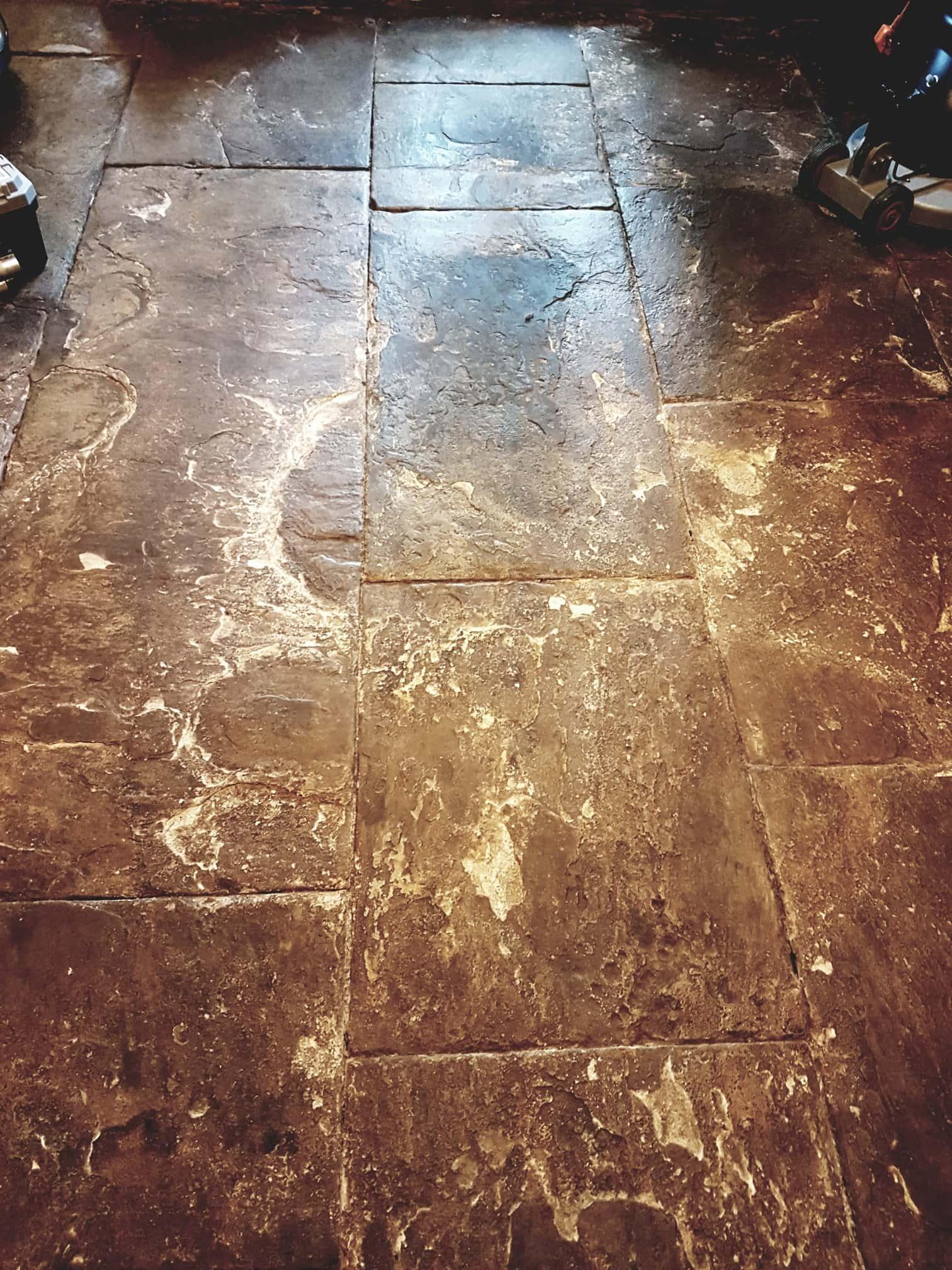 Flagstone Floor Before Grouting Cleaning Leeds