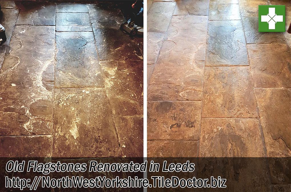 Old Flagstone Floor Before After Renovation Leeds