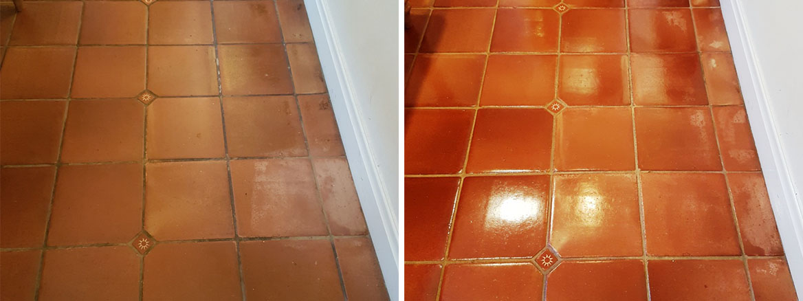 Dirty Mexican Terracotta Tile and Grout Deep Cleaned and Sealed in York