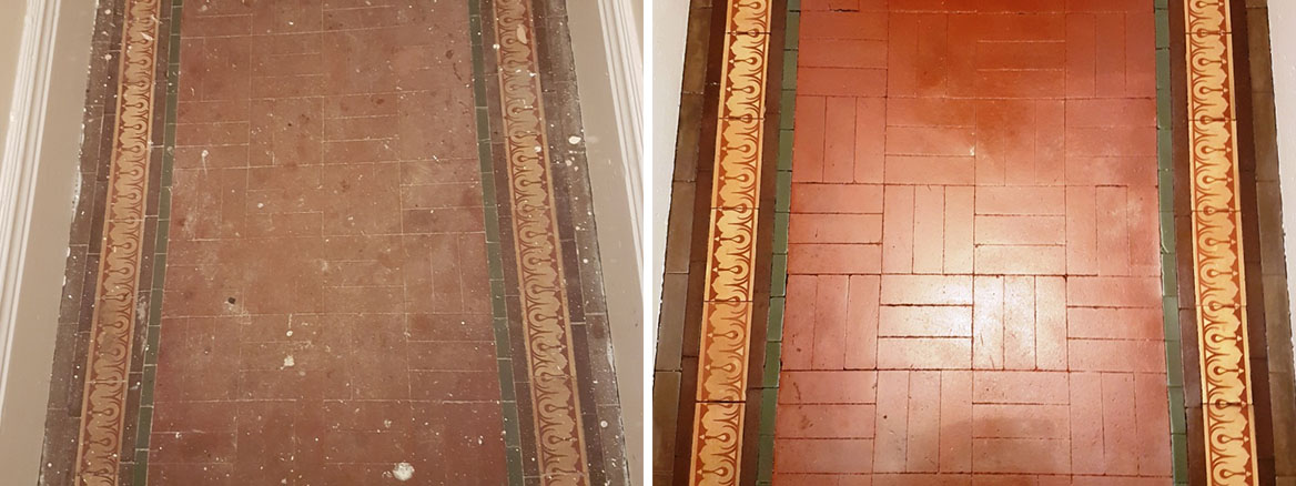 Dirty Paint-Marked Victorian Tiled Entranceway Restored in Roundhay