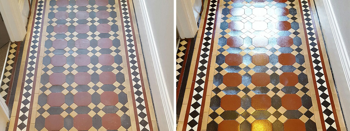 Paint Spotted Victorian Tiled Hallway Deep Cleaned in Leeds