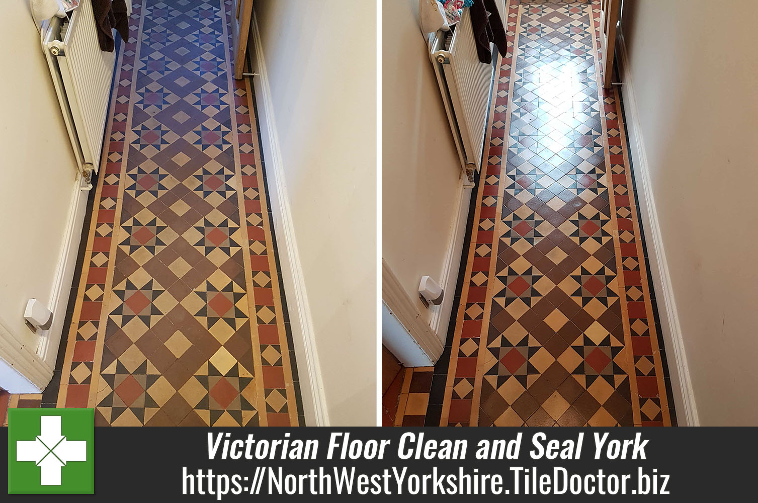 Victorian Tiled Hallway Floor Deep Cleaned and Sealed in York