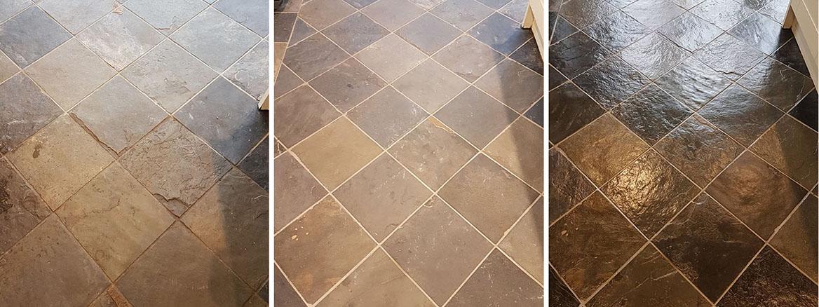 Grout Haze Removed from Wood Effect Slate Floor Tiles in Harrogate
