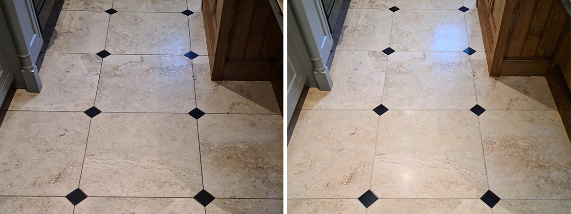 Limestone Floor Tile and Grout Renovated in York