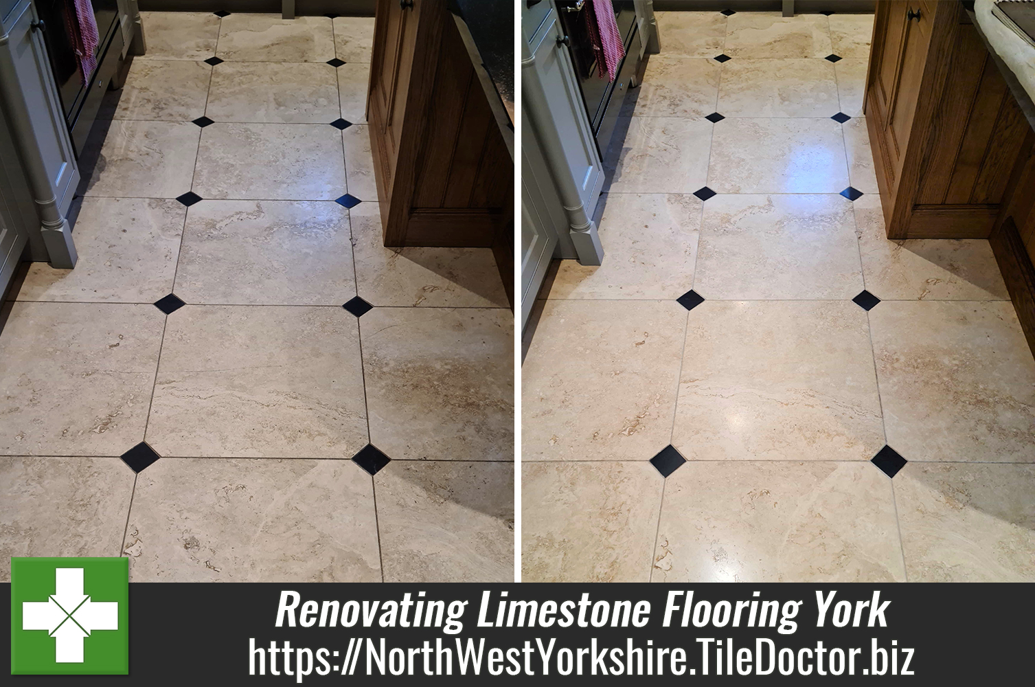 Restoration Clean of a Limestone Tiled floor in York