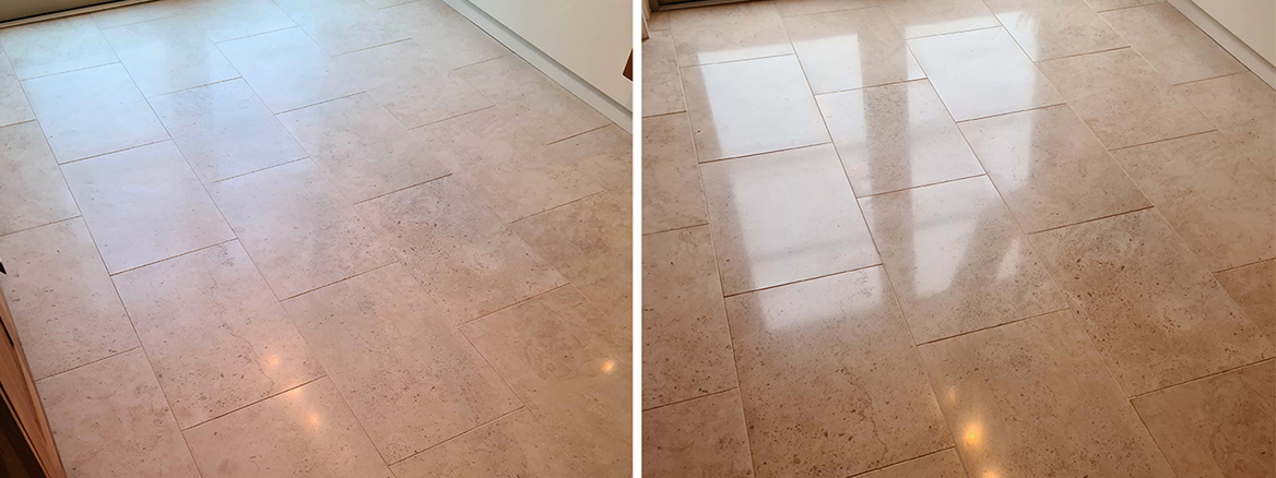 Moleanos Limestone Kitchen Floor Renovated in Harrogate