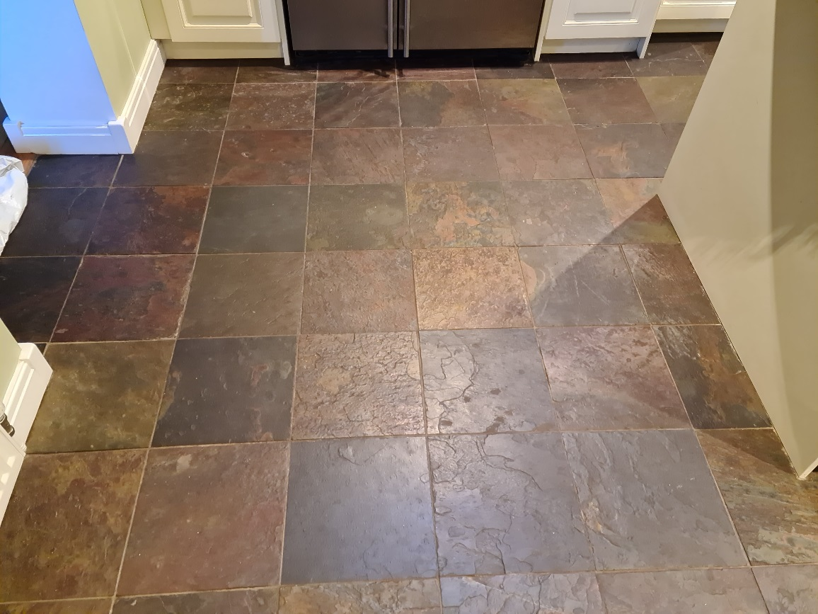 Chinese Slate Kitchen Floor Before Cleaning Harrogate