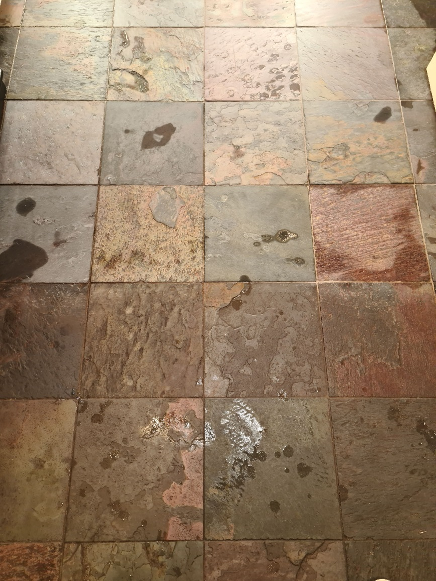 Chinese Slate Kitchen Floor During Cleaning Harrogate