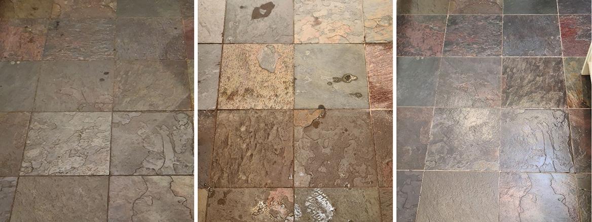 Chinese Slate Kitchen Floor Renovated in Harrogate