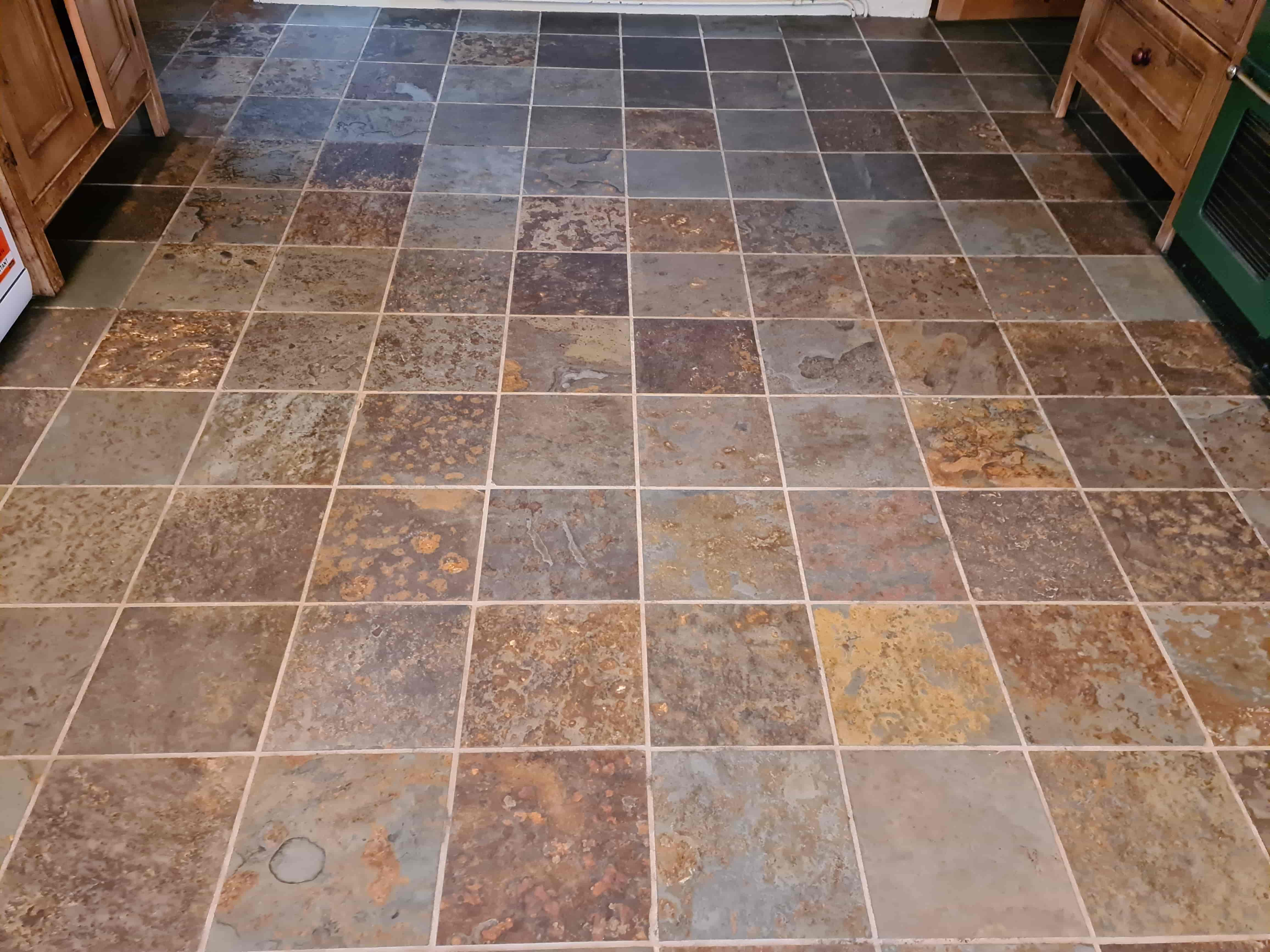 Multi-Coloured Chinese Slate Floor After Cleaning Harrogate