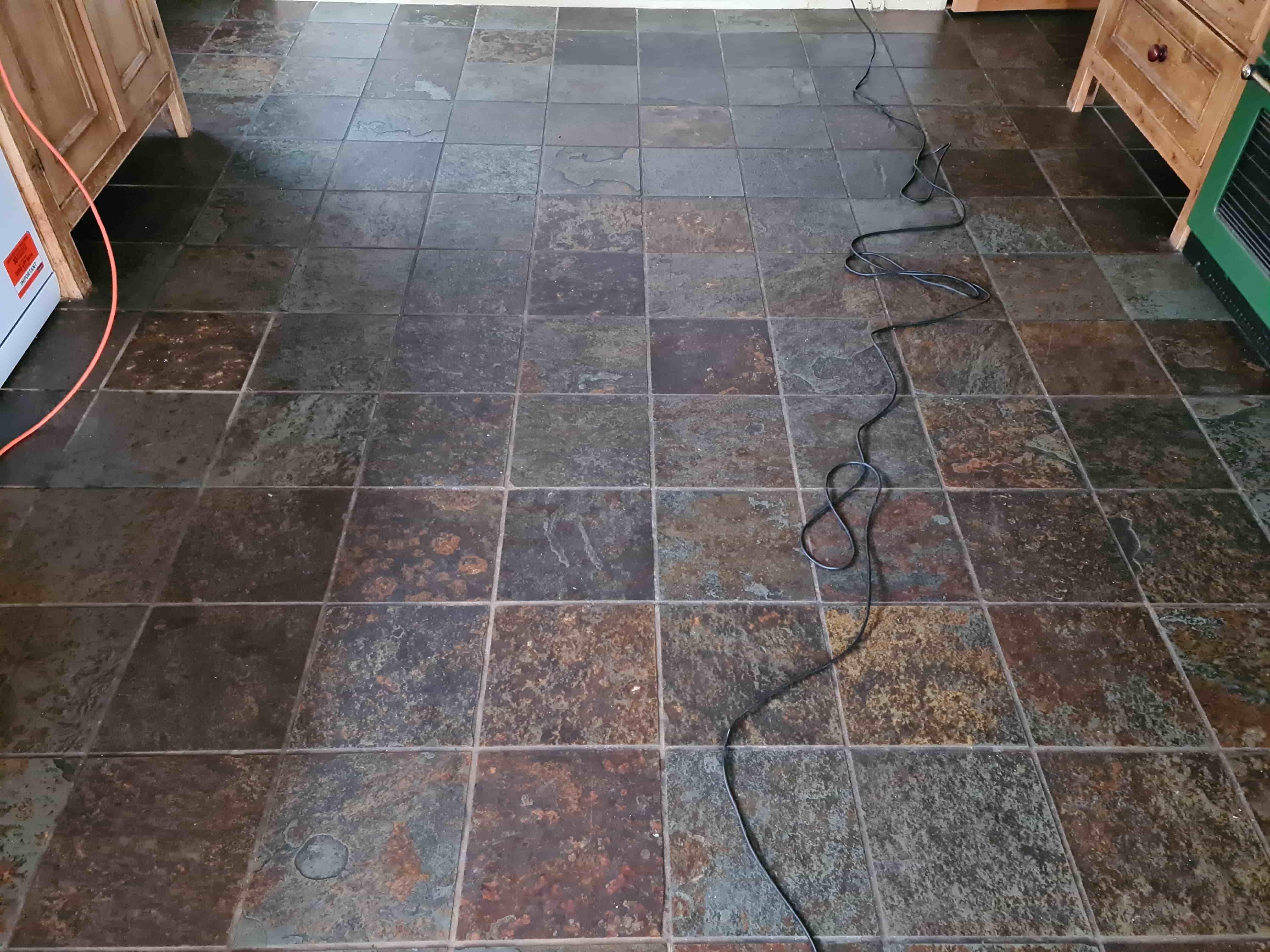 Multi-Coloured Chinese Slate Floor Before Cleaning Harrogate
