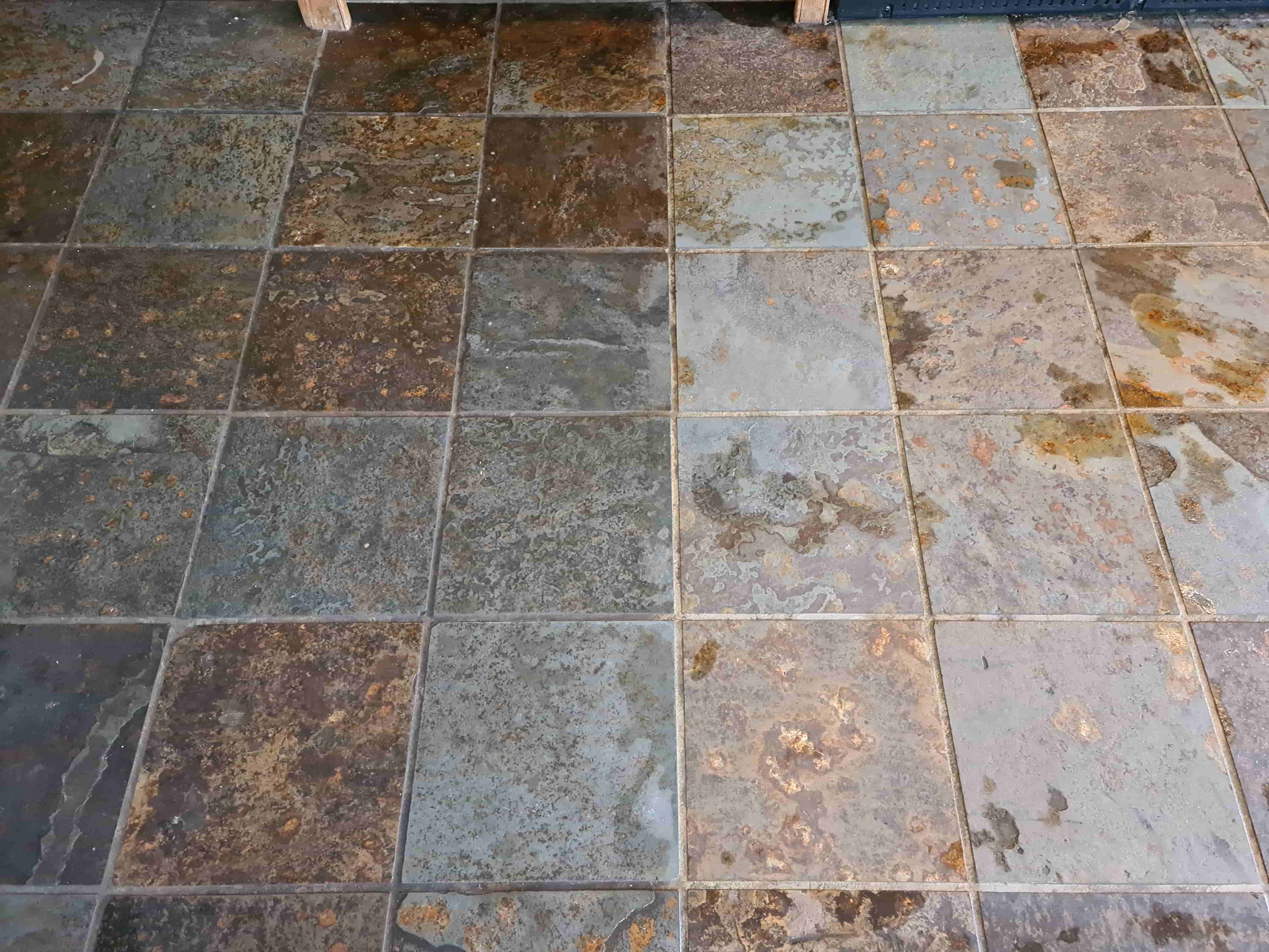 Multi-Coloured Chinese Slate Floor During Cleaning Harrogate