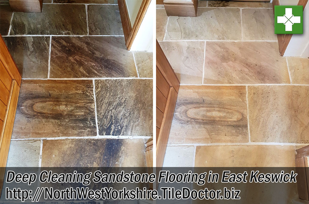 Multi-coloured Sandstone Floor Tiles Before After Cleaning East Keswick