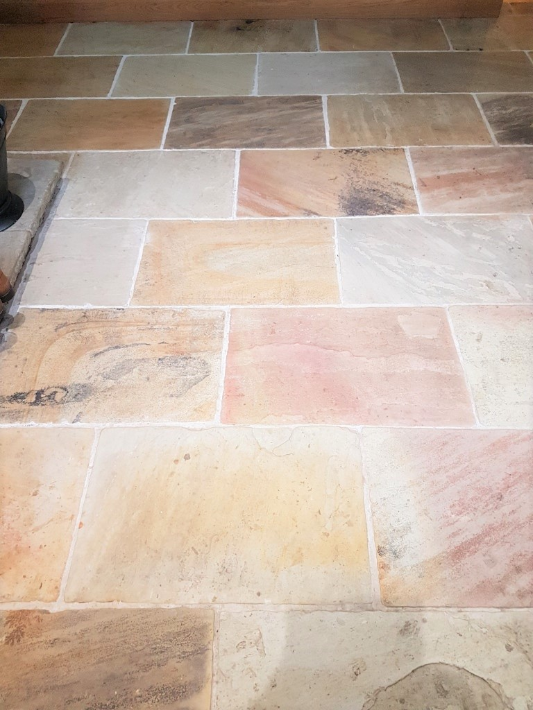 Multicoloured Sandstone Floor After Cleaning East Keswick
