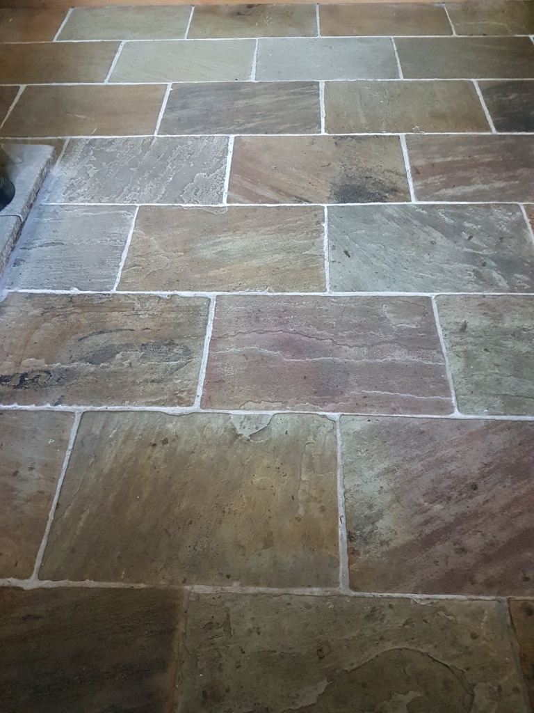 Multicoloured Sandstone Floor Before Cleaning East Keswick